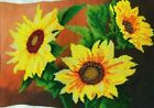 Ukrainian Sunflower art picture of beadsgift with bright yellow sunflowers