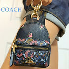 Coach Backpack Keychain Bag Coin Case Charm Blue Floral Print F58553
