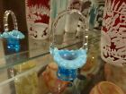 FENTON 37 RARE BLUE OPALESCENT MINIATURE BASKET FREE SHIPPING