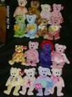 Ty Beanie Babies ❤️ Mothers Day Bear & Flower Bears, Ruby Red Hat & Promise New