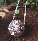 Kunzite Gemstone Pink Crystal Ball Sterling Silver Necklace Stone of Emotion