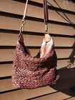 Vera Pelle Italian Woven Leather Braided Brown Shoulder Hand Bag Crossbody