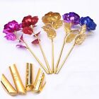 Valentines Gifts Gold Plated Rose Flower In Glass Dome LED Light Wood Base NEW