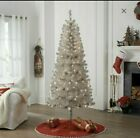 65 Foot Pre lit Silver Tinsel Christmas Tree with clear lights and Metal Stand