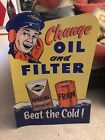 New Old Stock SIGN 1956 Sunoco Oil Fram Filter Die Cut Gas Station Store Display