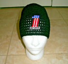 Harley Davidson Inspired HANDMADE Crochet Red White Blue Flag #1 Hat Cap Beanie