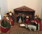 Holiday Time 8 Piece NATIVITY SET Felt Yarn Baby Jesus Wise Men Sheep Creche