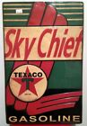 SKY CHIEF TEXACO EMBOSSED METAL SIGN GAS GASOLINE OIL COLLECTABLE AUTO AMERICANA