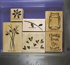 STAMPIN UP RUBBER STAMPS THANKS FROM THE HEART FLOWERS BOUQUET VASE