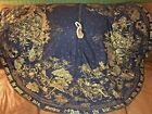 Handmade Black Gold Nativity Toile Bible Verse Reversible Xmas Tree Skirt 54