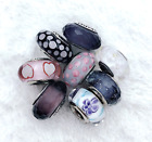 8 Pandora Silver 925 Murano White Black Bubble Flowers Purple Beads