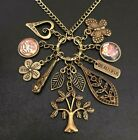 Vtg Boho Gypsy Nature Tree Of Life Butterfly Owl Flower Heart Charm Necklace