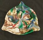 Vintage Mid Century Murano Art Glass Bowl or Ashtray Gold Foil and Colorful