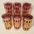 6 Signed Culver MCM Red/ purple Highball Glasses 22K Gold Trim