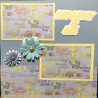 Premade Scrapbook Page 12x12 Mommy  Me Baby BOY Machine Sewn One of a kind