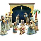 13 PC Jim Shore BLUE NATIVITY LARGE Shepherds Wisemen Mary Drummer w Boxes FLAW