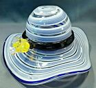 Hand Blown Art Glass Womens Garden Hat Candy Dish with Flower