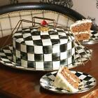 NEW Mackenzie Childs Courtly Check Enamel Cake Carrier Free Shipping