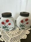 Pepper Shakers White Milk Glass Painted Tulips