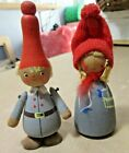 Vintage Scandinavian Christmas Mr  Mrs Claus Hand Made Painted Tomte Nisse Gray