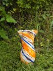 Orange Blue White Brown Swirled Glass Vase Flared 12 Scalloped