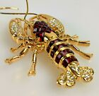 Nolan Miller Statement Red Square glass stone  Crystal Bold Cast Lobster Large