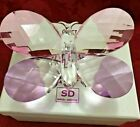 Simon Design Butterfly Crystal Glass Pink Purple Jumbo Figurine Paperweight New