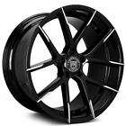 4 20 Lexani Wheels Stuttgart Gloss Black w Machined Tips Rims B1