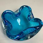 Murano Controlled Bubble Art Glass Ashtray Blue Aqua