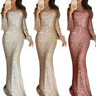 Women Sequin Tassel Bodycon Maxi Dress Ladies Formal Evening Party Ball Gown