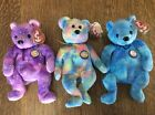 CLUBBY VI 6 PURPLE BLUE AND RAINBOW MINT WITH MINT TAGS  TY BEANIE BABIES