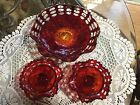 Fenton Amberina Footed Bowl And Candle Holders