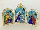 Vintage Christmas Nativity 3 Wise Men Stained Glass Style Holiday Decor
