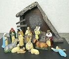 Vintage 13 Piece Nativity Set Hard Plastic Figures Wooden Manger