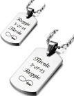 PERSONALIZED SILVER DOG TAG NECKLACE SET CUSTOM ENGRAVED BEST FRIENDS COUPLES