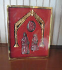 Gorham Crystal and Antique Goldtone Nativity Set 4 Piece with Storage box