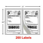 200 - 1000 Shipping Labels 8.5 X 5.5 Half Sheets Blank Self Adhesive 2 Per Sheet