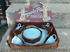VINTAGE FIRE KING TURQUOISE BLUE CUP SAUCER PLATES STARTER SET IN BOX 12 PIECES