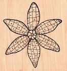 Outlines LINED FLOWER Wood Mounted Rubber Stamp Summer Spring Nature