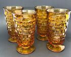 Set Of 4 Indiana Colony Glass Amber Whitehall Cubist 14 Oz. Tumblers
