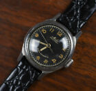 Vintage MIDO Super Bumper 717A Automatic Stainless Watch Black Gilt Dial Ladies