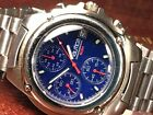 NAUTICA MAN'S CHRONOGRAPH WATCH Stainless Steel w/Cool Blue Dial KEEPS GOOD TIME