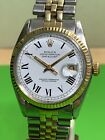 Rolex Datejust Buckley Dial Mens 1601 Stainless Steel 14K Yellow Gold Watch