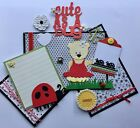 Cute as a Bug Baby Girl Tear Bear 3D Paper Piecing Scrapbook Page Mat Set Diecut