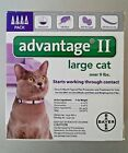 GENUINE BAYER ADVANTAGE II FLEA CONTROL FOR CATS OVER 9 LBS NEW 4 PACK