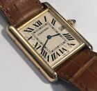 Men's 18k Solid Gold Cartier Tank Solo Quartz Wrist Watch Large Size