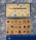 RUBBER STAMPS TINY BACKGROUNDS 18 MINI STAMPS HEART FLOWER STAR SUN SWIR