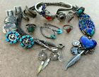 Vintage Native Sterling Silver Turquoise Spirit Earrings Necklace Amber Cuff Lot