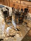 Libbey 12 Oz Rock Glasses Black And Gold Gilting Set Of 5
