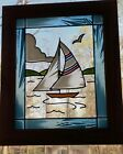 Vintage Stained Glass Sailboat Window Suncatcher Wooden Frame 12 X 10 Naut
